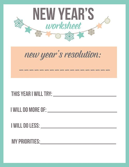 New Year's Resolutions Printable