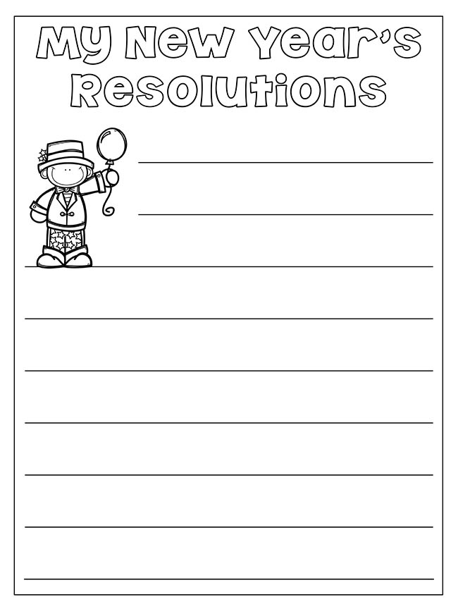 New Years Resolution Worksheet for Kids