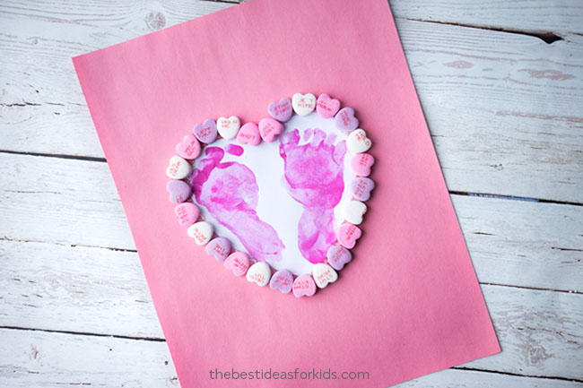 Footprint Heart Craft For Kids