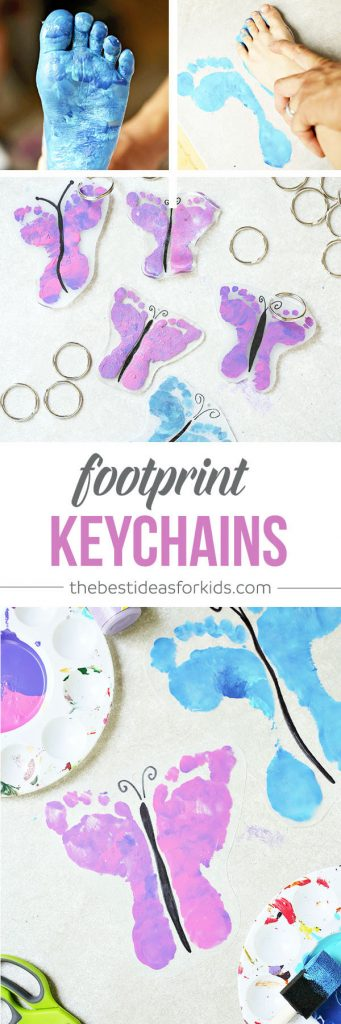 Shrinky Dink Footprint Keychain