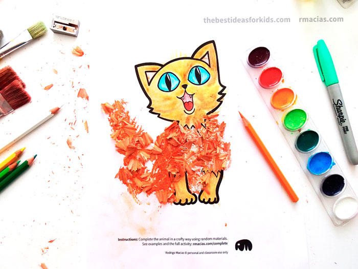 Cat craft idea with pencil shavings