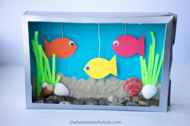 Cereal Box Aquarium Fish Tank Craft
