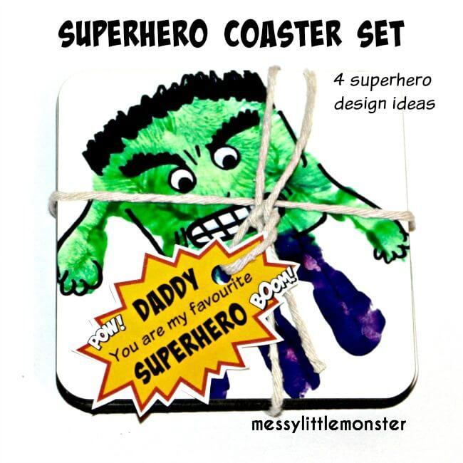 Superhero Coasters for Dad