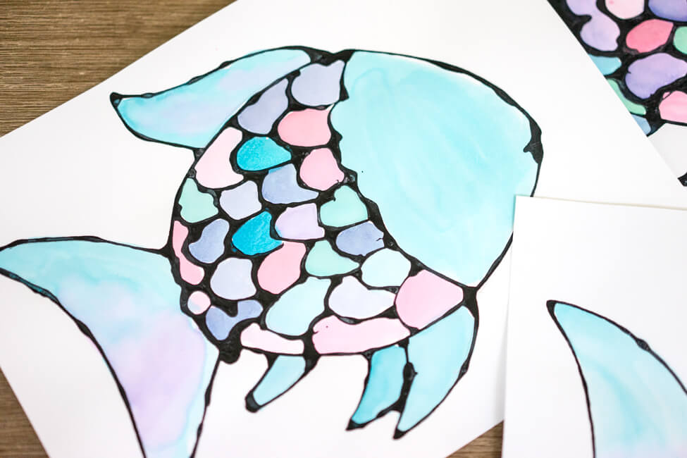 Rainbow Fish Black Glue Watercolor Craft