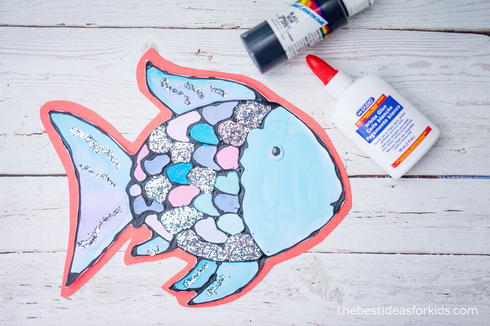 Rainbow Fish Craft Made with Black Glue