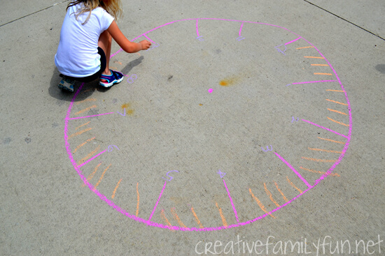 Sidewalk Chalk Clock Game