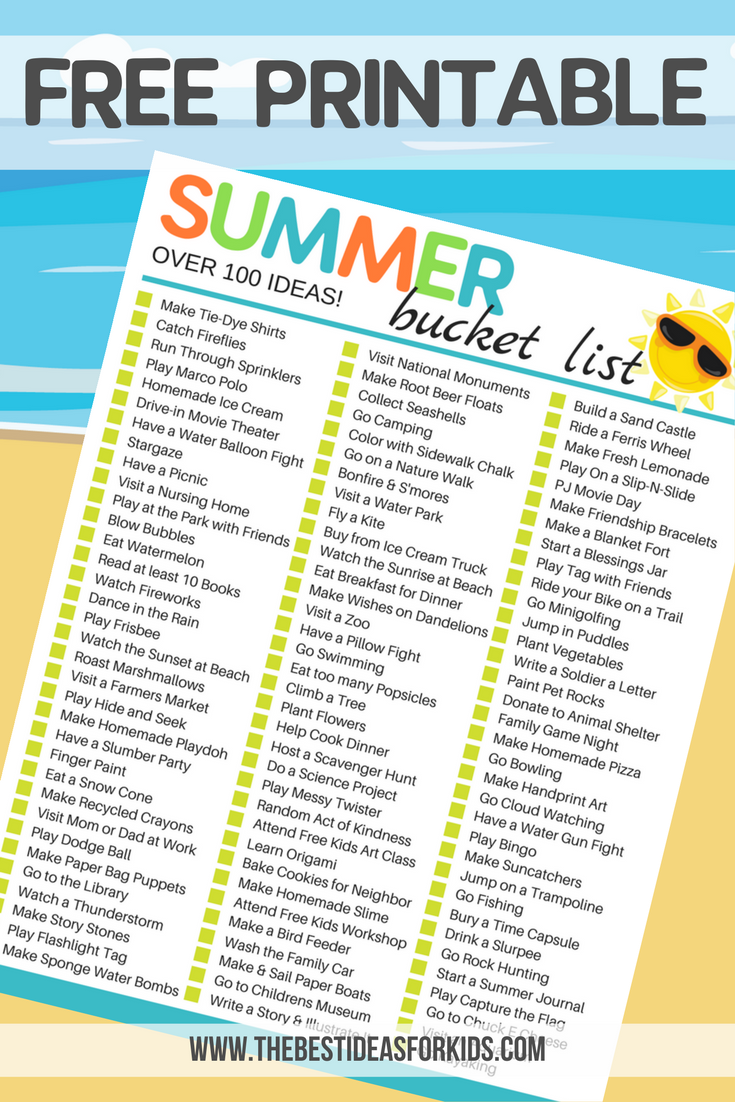 100 Fun Simple Ideas For A Summer Bucket List For Kids