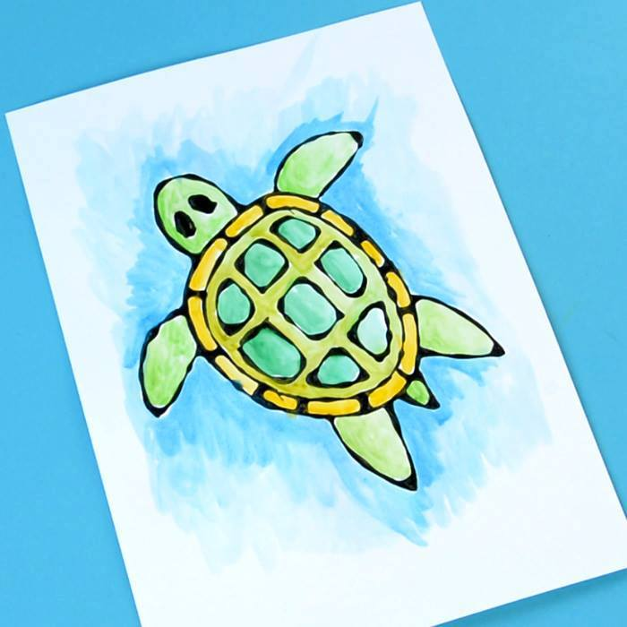 Turtle Black Glue Craft