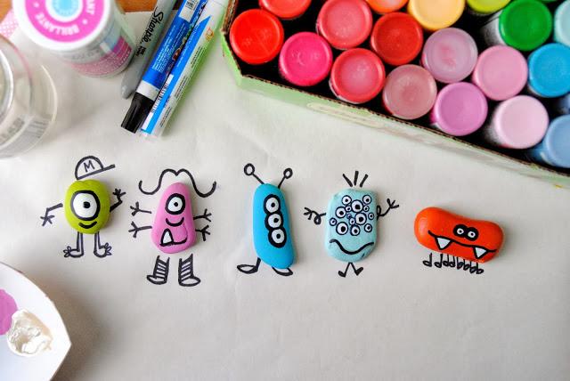 Pet Monster Doodle Rocks