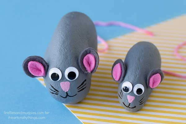 Pet Rock Mice Craft