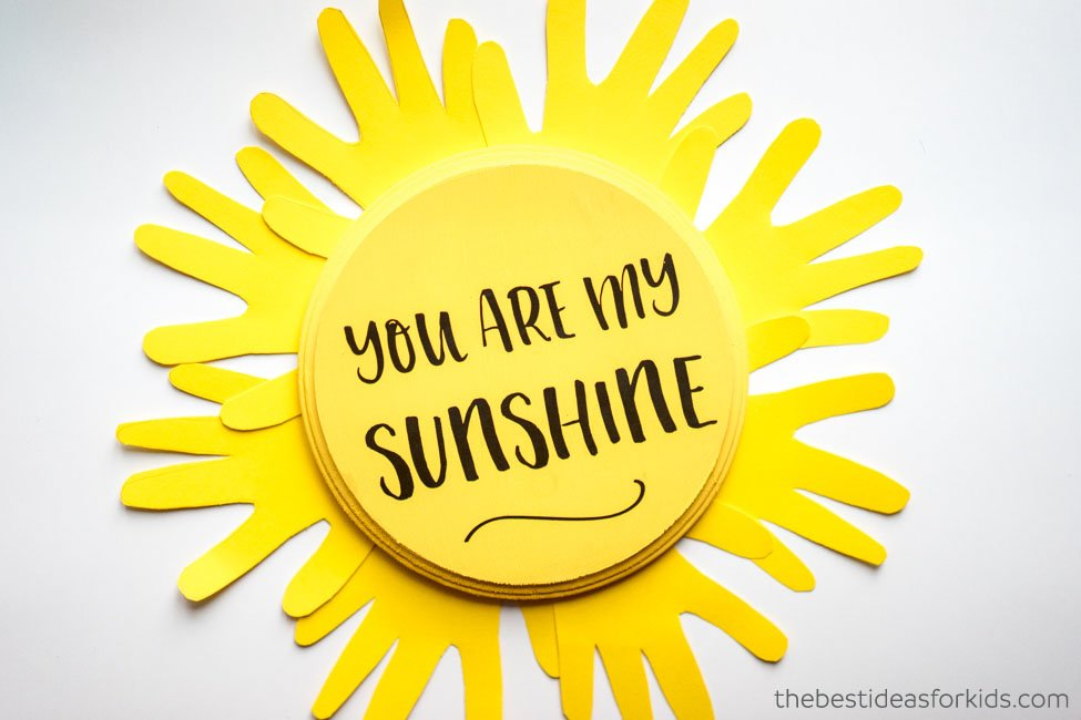 graphic regarding You Are My Sunshine Printable called On your own Are My Sun Craft - Solar Handprint - The Least complicated Suggestions