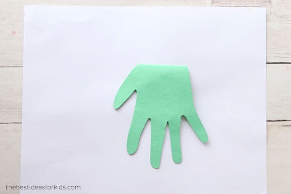 Cut out handprint and glue down