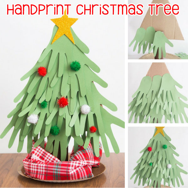 Handprint Christmas Craft Ideas Part - 30: Handprint Christmas Tree Craft For Kids