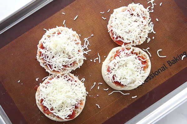 Add Cheese to English Muffin Pizza