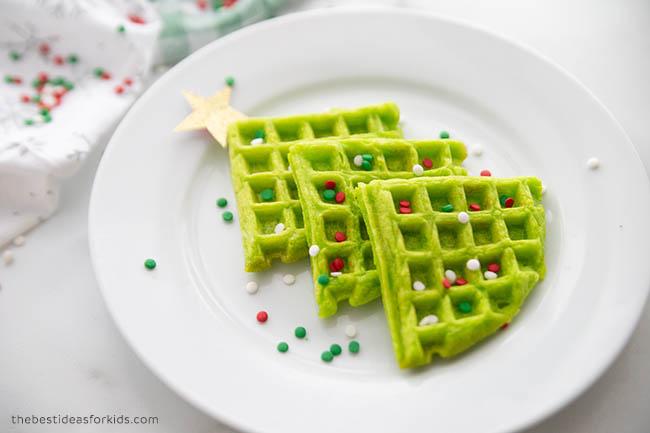 Christmas Tree Waffles Breakfast