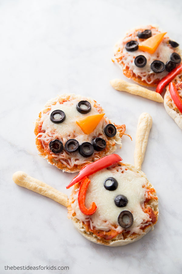 English Muffin Snowman Pizza