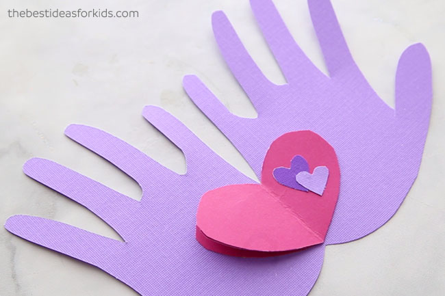 Add Hearts to Handprint Valentine Card