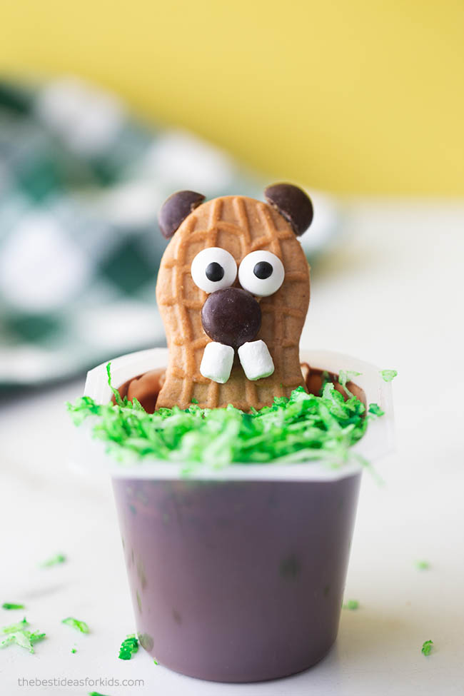 Groundhog Day Snack Idea Pudding Cup