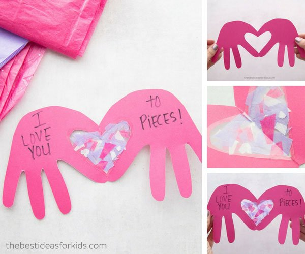 I Love You to Pieces Handprint Craft