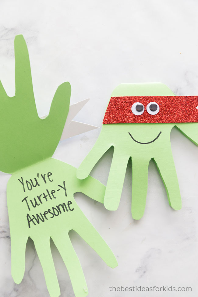 Ninja Turtle Handprint Cards