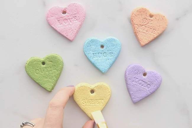 Paint the Salt Dough Conversation Hearts