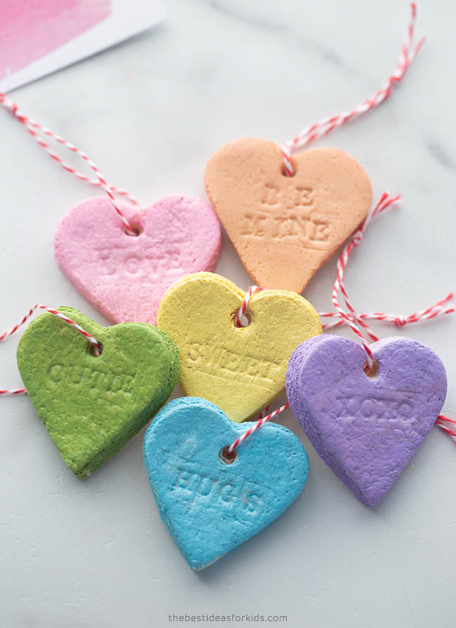 Salt Dough Hearts Conversation Hearts