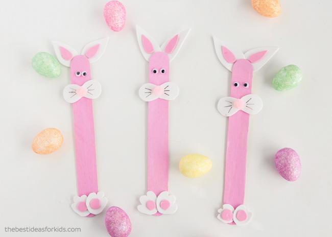 Easter Bunny Popsicle Stick Craft for Kids