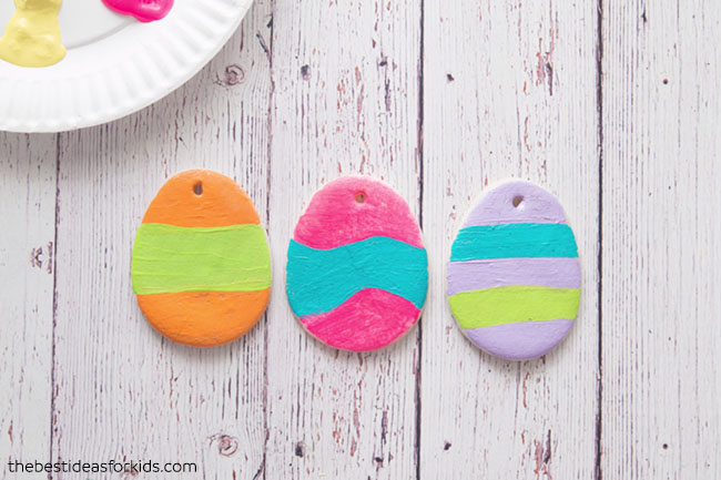 Painting Salt Dough Easter Eggs