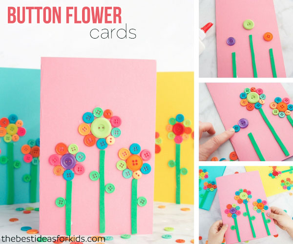 Flower Button Card Mother's Day Idea
