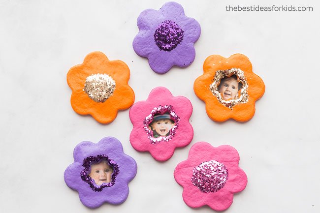 Salt Dough Flower Magnets