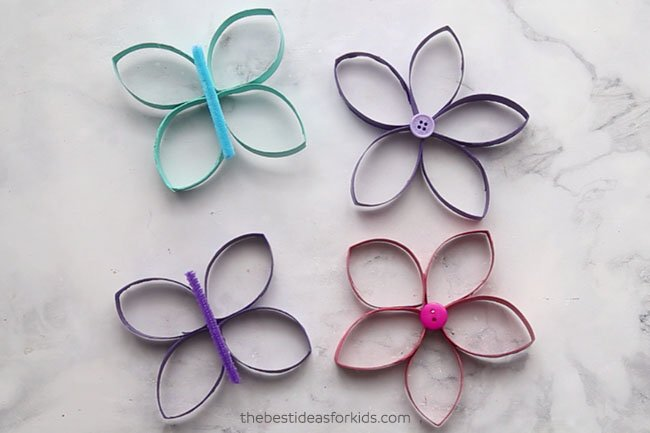 Toilet Paper Roll Butterflies and Flowers