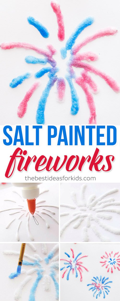 Salt Painted Fireworks July 4th Craft