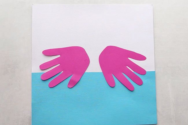 Handprints for Flamingo Craft