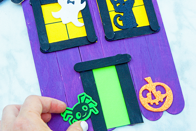 Add Stickers to Haunted House Craft
