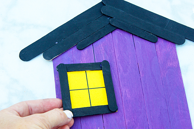 Glue on Window Popsicle Stick Haunted House