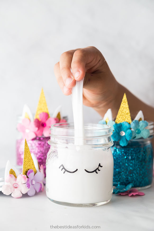 DIY Unicorn Slime! Cute and easy kids craft idea! #diy #kidscraft #unicorndiy #unicorn #unicorntheme #unicorncraft