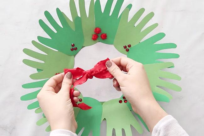 Add Bow to Handprint Wreath