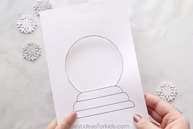 snow globe template card the best ideas for kids
