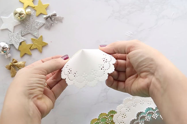 Fold Doily To Make Angel
