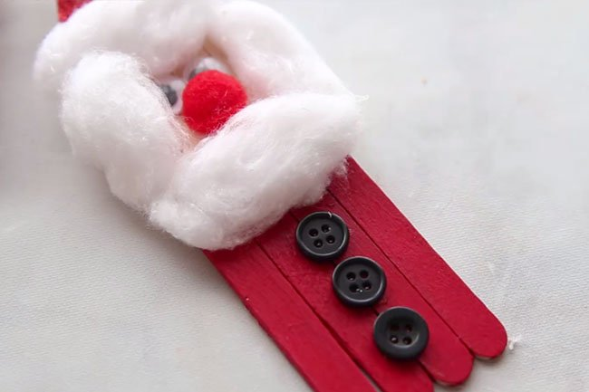 Glue Buttons to Santa Popsicle Stick