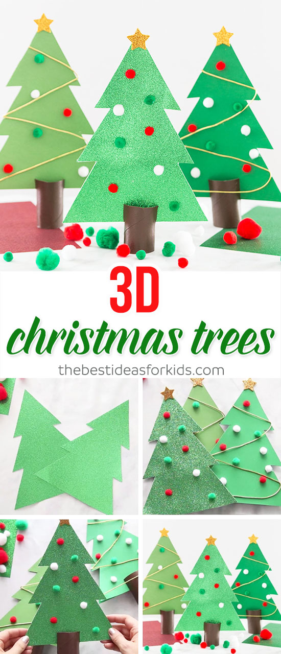 3D Christmas Tree Outline Craft