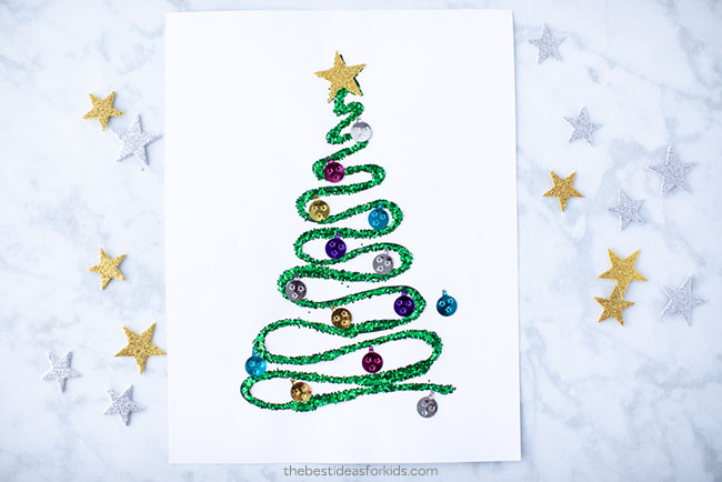 Christmas Tree Glitter Craft