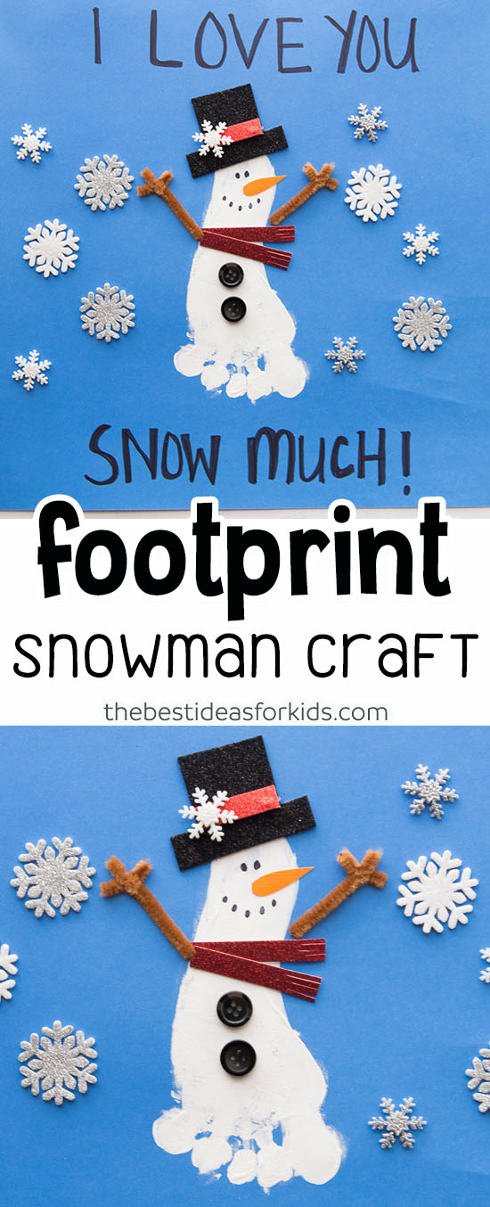 Footprint Snowman Craft for Kids