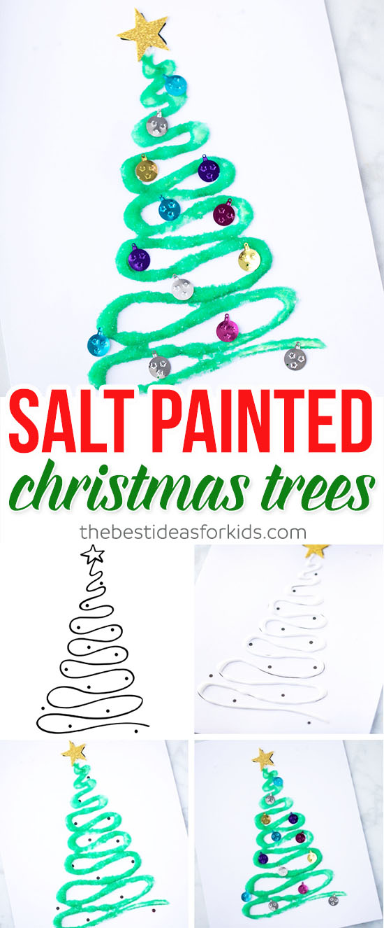 Salt Painted Christmas Tree Craft