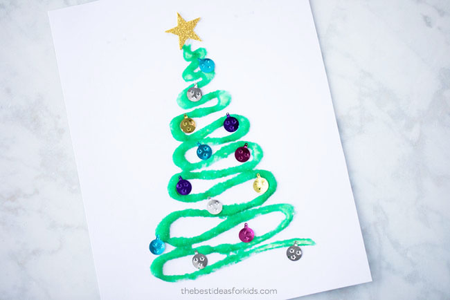Salt Painting Christmas Trees