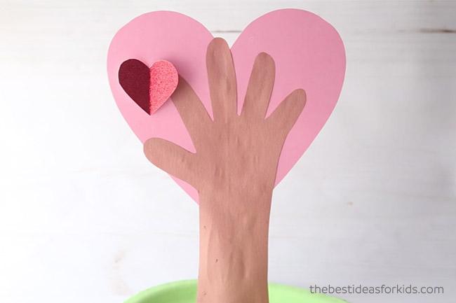 Add Hearts to Handprint Tree