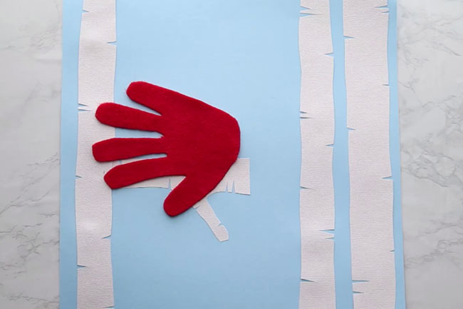 Cut and Glue Handprint Cardinal