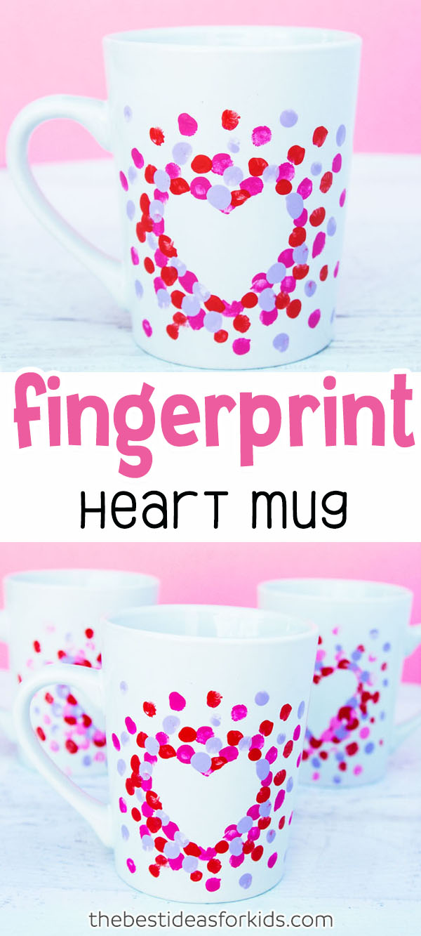 Fingerprint Heart Mug Craft for Kids