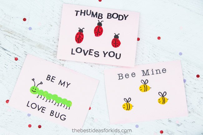 Fingerprint Valentine Cards for Kids