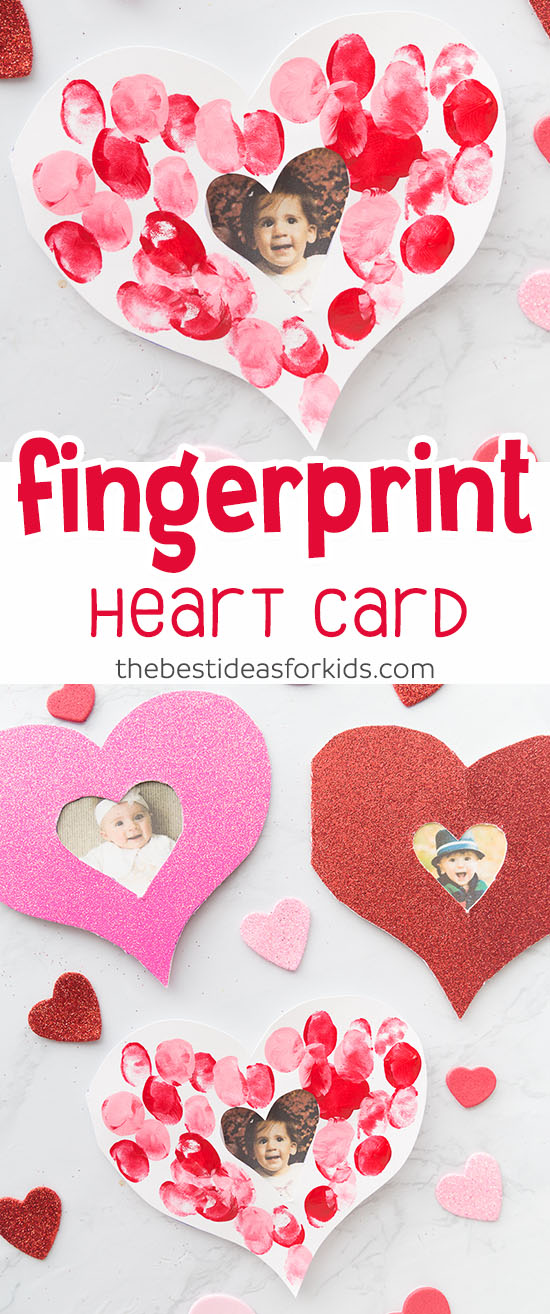 Fingerprint Valentine Heart Card for Kids